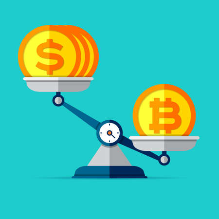 The ratio of the exchange rate. Preponderance of bitcoin against dollars. Money icons on libra in flat style. Scales symbol, balance sign. Vector business elements for you project
