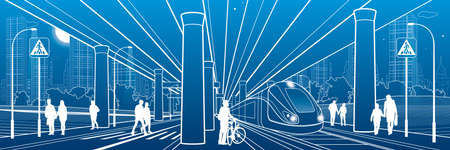 People walk under the car overpass. Large highway. Train rides. Modern night town. Urban transport. Big bridge. Industrial outline illustration. White lines on blue background. Vector design art