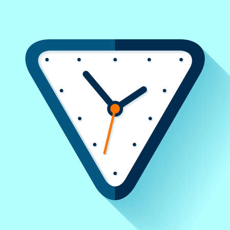 Triangle clock icon in flat style on blue