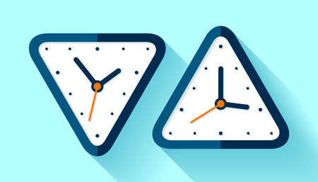Triangle clock icon set in flat style, timer on blue background. Simple watch. Vector design element for you business projects 矢量图像