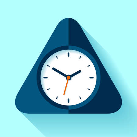 Triangle clock icon in flat style, timer on blue background. Simple watch. Vector design element for you business projects