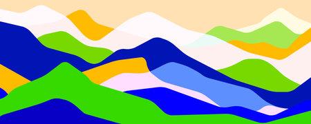 Multicolor mountains, translucent waves, abstract color glass shapes, modern background, summer landscape, vector design Illustration for you project 向量圖像