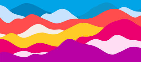 Multicolor mountains, translucent waves, abstract color glass shapes, modern background, bright landscape, vector design Illustration for you project. 向量圖像