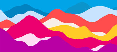 Multicolor mountains, translucent waves, abstract color glass shapes, modern background, bright landscape, vector design Illustration for you project. 矢量图像