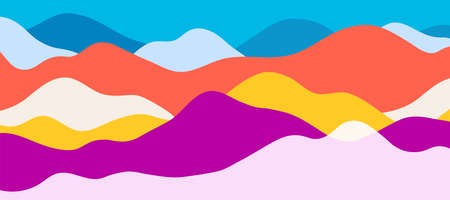 Multicolor mountains, translucent waves, abstract color glass shapes, modern background, bright landscape, vector design Illustration for you project