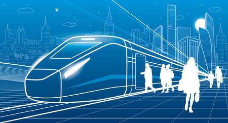 Futuristic train at station. Passengers board on locomotive. Transportation infrastructure illustration. Vector outline design art