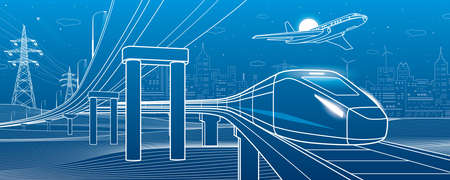 Outline road bridge. Car overpass. Train rides. Airplane fly. City Infrastructure and transport illustration. Urban scene. Vector design art. White lines on blue background 向量圖像