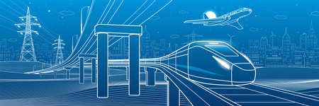 Outline road bridge. Car overpass. Train rides. Airplane fly. City Infrastructure and transport illustration. Urban scene. Vector design art. White lines on blue background 矢量图像