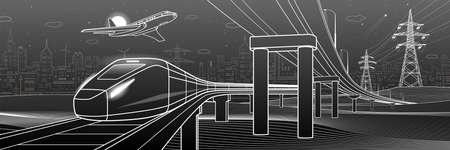 Outline road bridge. Car overpass. Train rides. Airplane fly. City Infrastructure and transport illustration. Urban scene. Vector design art. White lines on black background