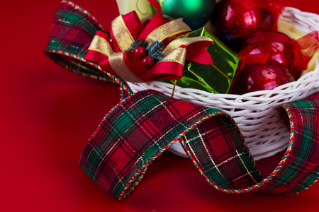 Christmas decoration on red background./ Christmas decoration