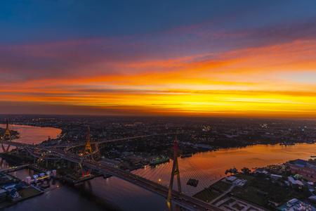 Bangkok, Thailand - Jan 2019 : Bangkok sunset at Chao phraya River