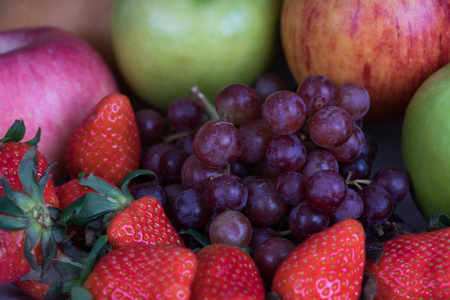 multiple fruits include apple, strawberry, grapes