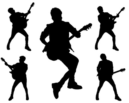 guy playing guitar: 5 simple shape of Guitarist action, Rock Style Illustration
