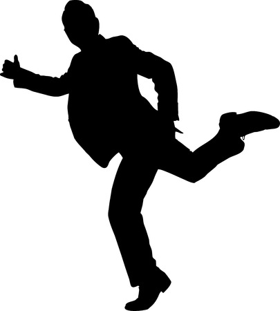 runing: Runing business man in suit silhouette  Illustration on white