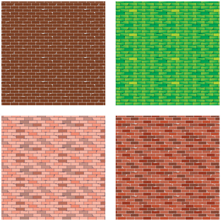 brick background: 4 colorito sfondo di mattoni Vettoriali