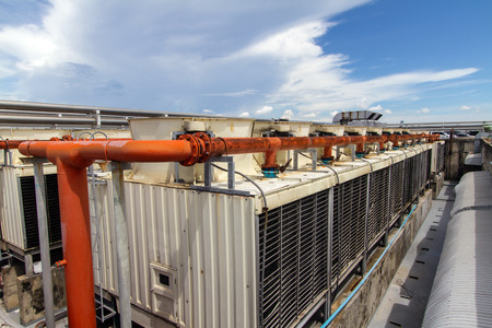 chiller: Industrial air conditioner on the roof with blue sky