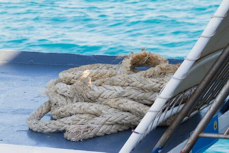 ferry boat: Old rope on ferry boat