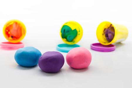plasticine: pieces of plasticine on white background