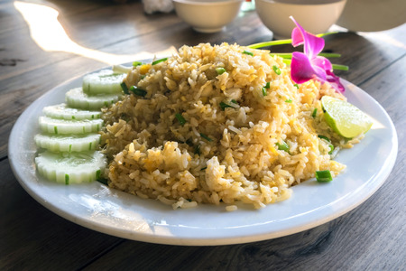 thai orchid: The crab fired rice thai food, in white plate