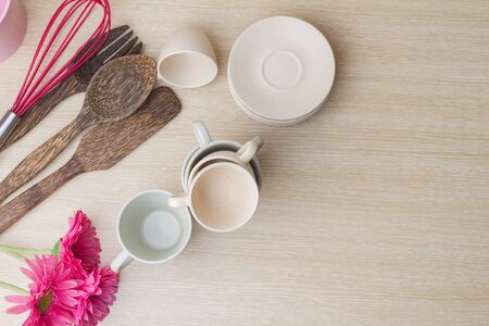 kitchen ware: Top View of Coffee cup collection with kitchen ware on wooden background