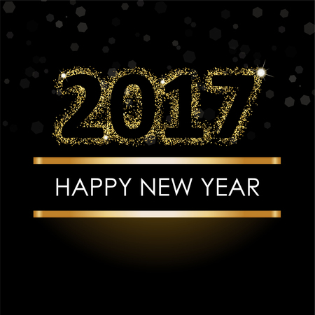 happy new year 2017 golden letter with gold glitter texture border over black background stock photo