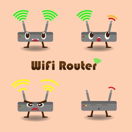 network router: Vector cartoon wireless network router,Wifi quality concept