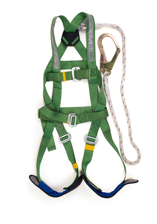 Closeup fall protection Hook harness and lanyard for work at heights on white background. Foto de archivo