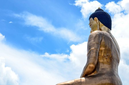 Side View of the Buddha Dordenma Statue in Bhutan Stock Photo
