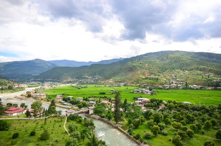 Aerial View of the Paro Valley in Bhutan Stock Photo