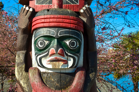 Traditional Totem Poles in Victoria, B.C., Canada
