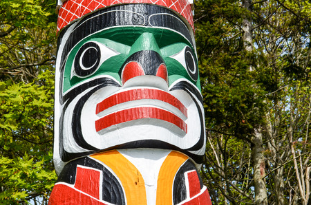 Wooden-Carved Totem Poles in Stanley Park, Vancouver, Canada