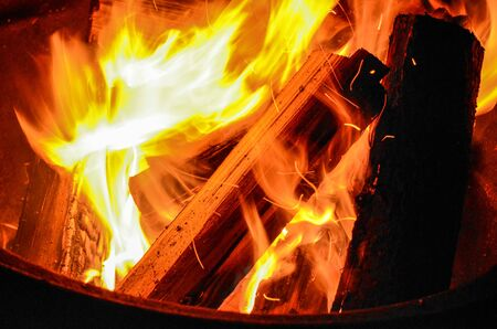 Burning Firewood at a Campground Stock Photo