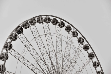 Enormous Ferris Wheel in Black and White