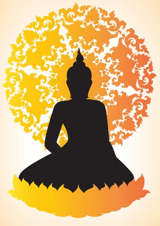 believes: Buddha silhouette vector illustrator Illustration