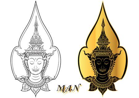 rama thai faccia vettore Vettoriali