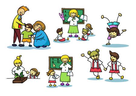 girls kissing: cartoon family vector illustrator