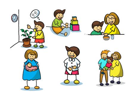 mom and daughter: cartoon family vector illustrator