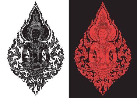 thai  art: Thai arts outline stroke vector pattern