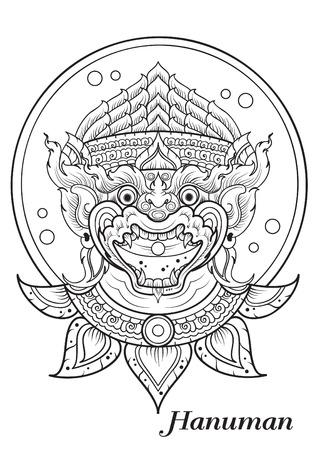 ramayana: monkey thai outline illustrator
