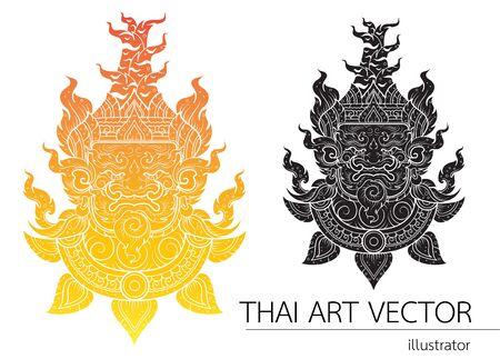 tatto: Thai Giant head outline stroke layout Illustration