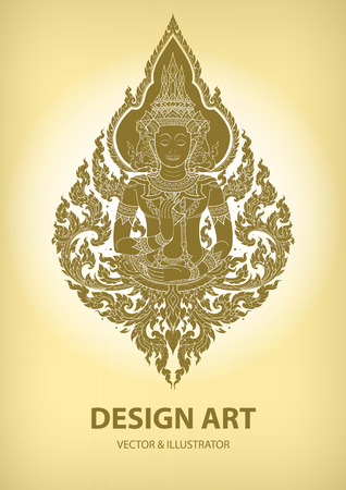asian art: layout thai outline pattern vector