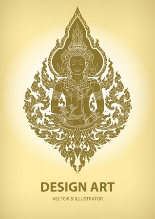 Mise en page vecteur de motif de contour thai Banque d'images - 52134549