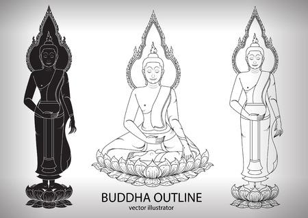 dessin au trait: Buddha silhouette layout vecteur illustrateur