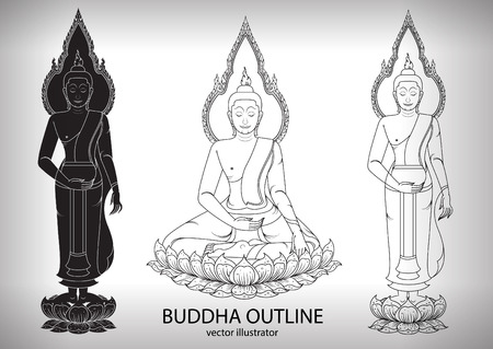 thai buddha: Buddha silhouette layout vector illustrator