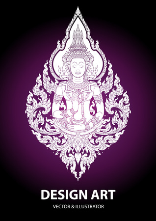layout thai buddha outline stroke vector