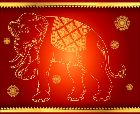 pattern background Elephant outline thai tradition