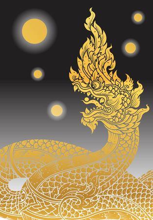 snake head: Thai Dragon outline