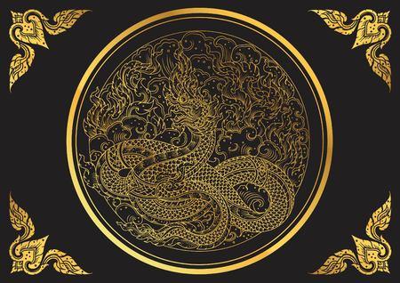 quetzalcoatl: king snake thai tradition outline vecto Illustration