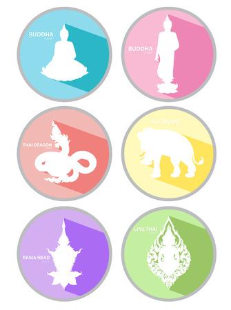 buddha head: Line thai icons illustrator Illustration