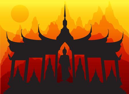 cambodia sculpture: wat thai pagoda buddha vector Illustration